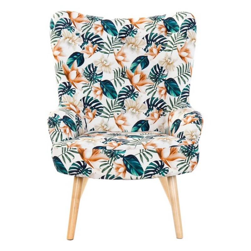 Armchair DKD Home Decor Multicolour Birch Polyester (76 x 74 x 74 cm)