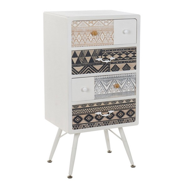 Chest of drawers DKD Home Decor White Wood Metal (48 x 35 x 101 cm)
