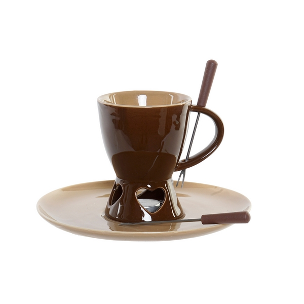 Chocolate Fondue DKD Home Decor Stainless steel Porcelain