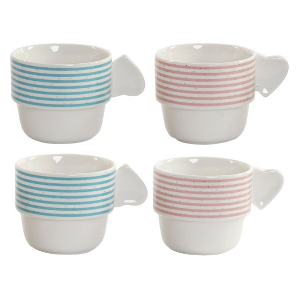 Juego de Tazas de Café DKD Home Decor Rayas (200 ml) (4 pcs)