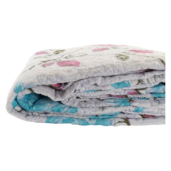 Bedspread (quilt) DKD Home Decor Flowers Polyester Cotton (285 gsm)