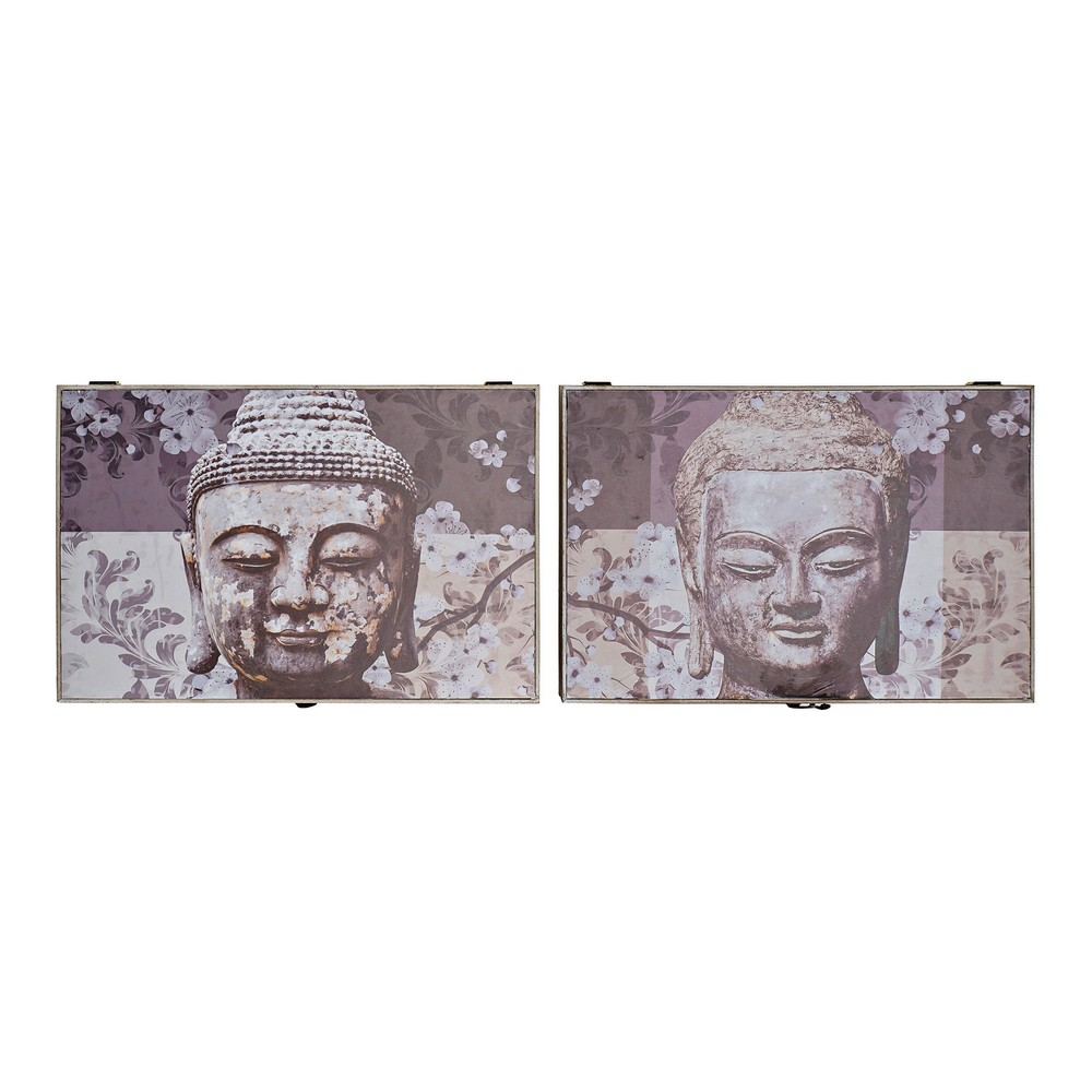 Cover DKD Home Decor Counter Buddha Grey MDF Wood (2 pcs) (46.5 x 6 x 31 cm)