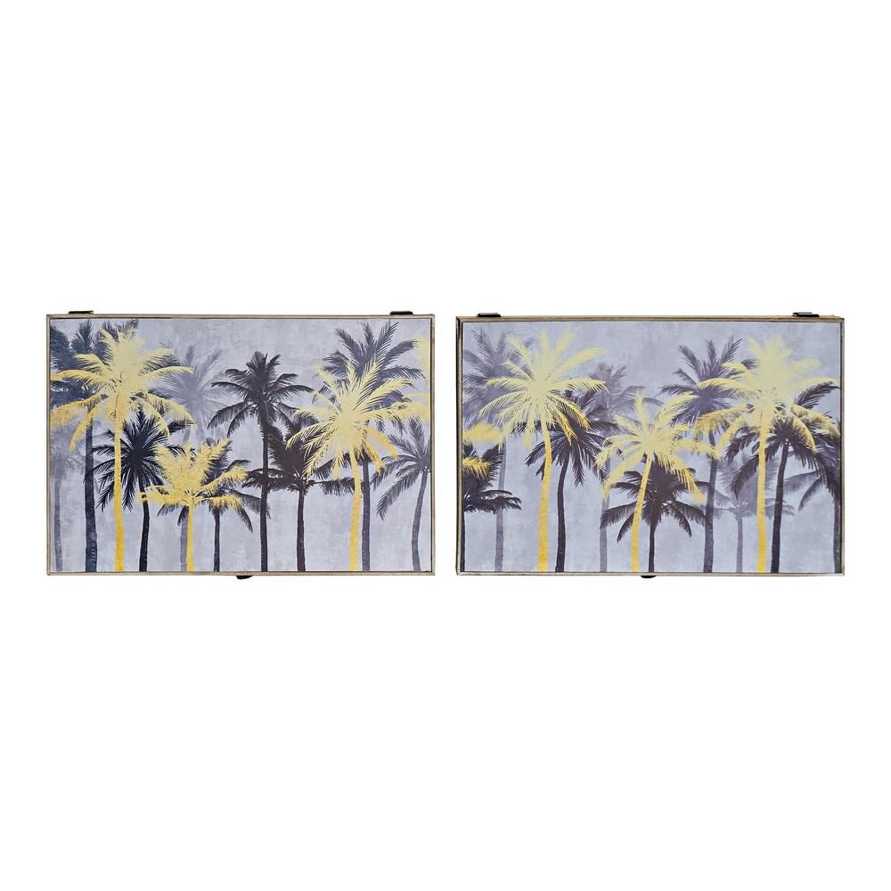 Cover DKD Home Decor Counter Palms Black Golden MDF Wood (2 pcs) (46.5 x 6 x 31 cm)