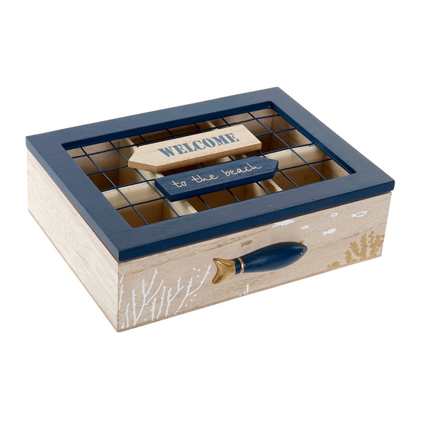Box for Infusions DKD Home Decor Welcome Wood Metal (23 x 18 x 7 cm)