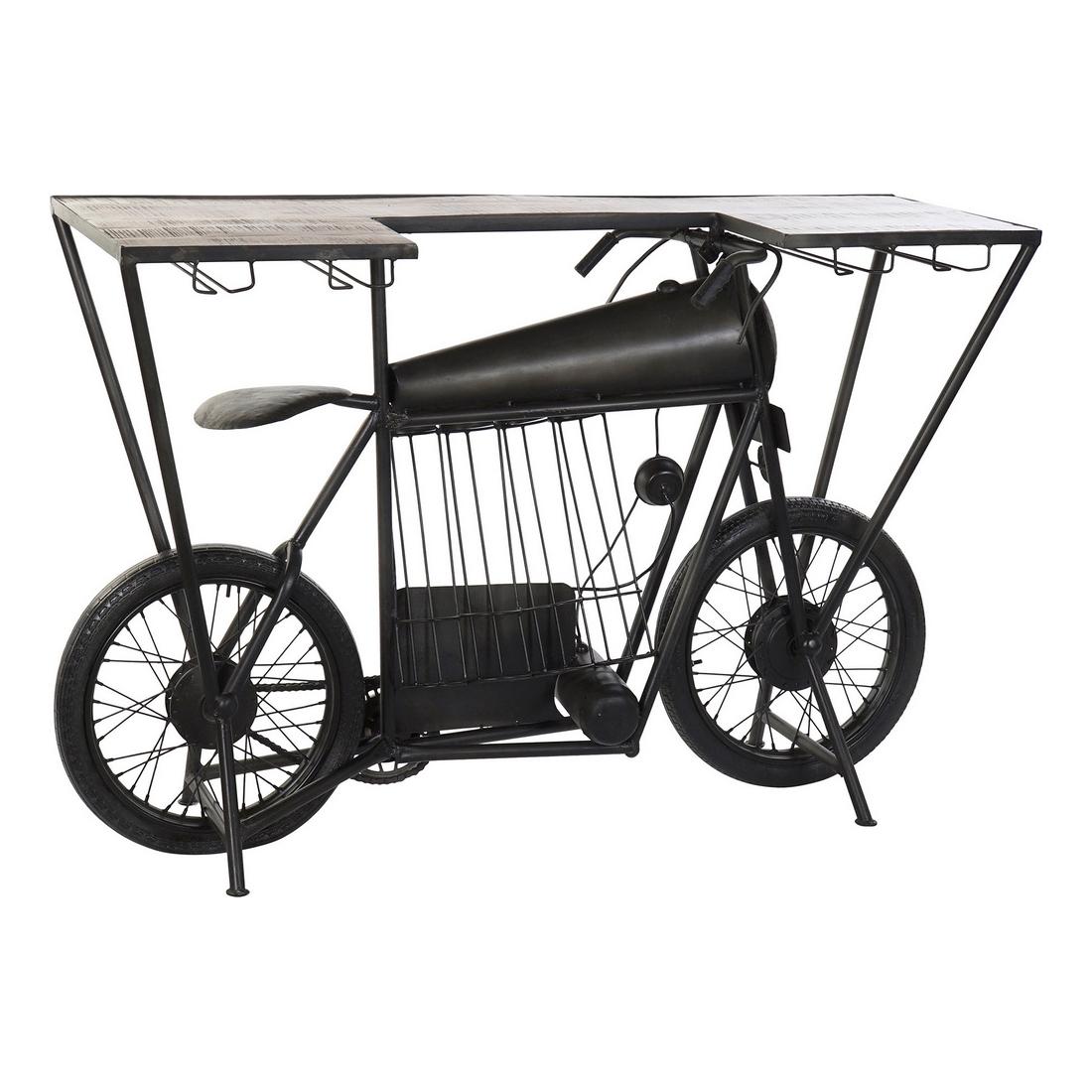 Bottle rack DKD Home Decor Motorbike Iron Acacia (157 x 51 x 100 cm)