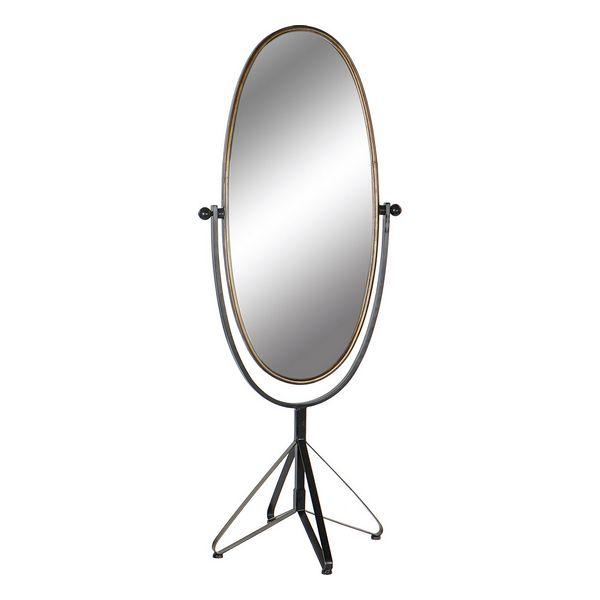 Free standing mirror DKD Home Decor Black Golden Metal Vintage (66 x 57 x 163 cm)