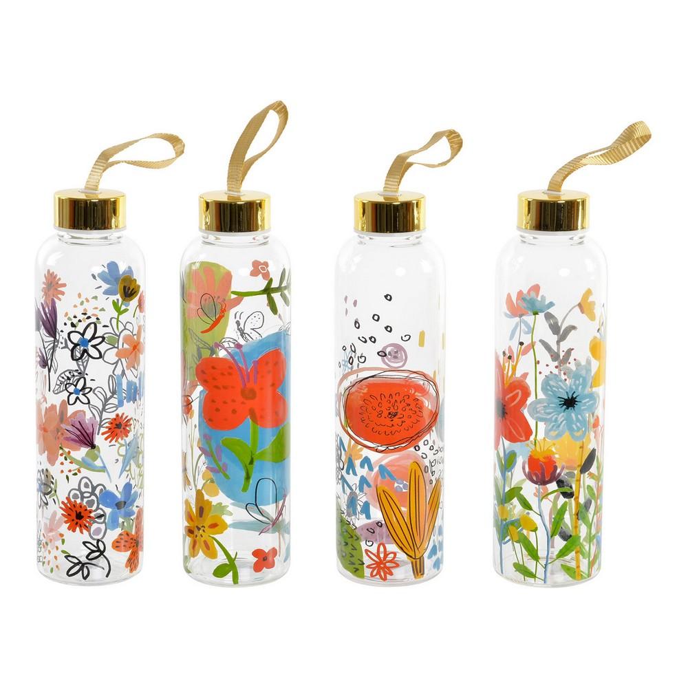 Water bottle DKD Home Decor Floral Borosilicate Glass (4 pcs) (6.5 x 6.5 x 23 cm)