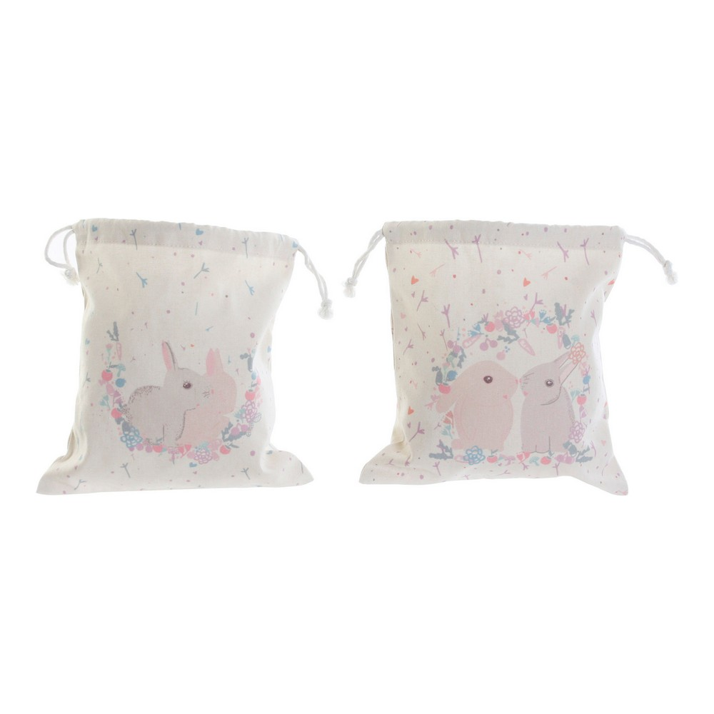 Backpack with Strings DKD Home Decor Rabbit Cotton (2 pcs) (24 x 0.5 x 26 cm)