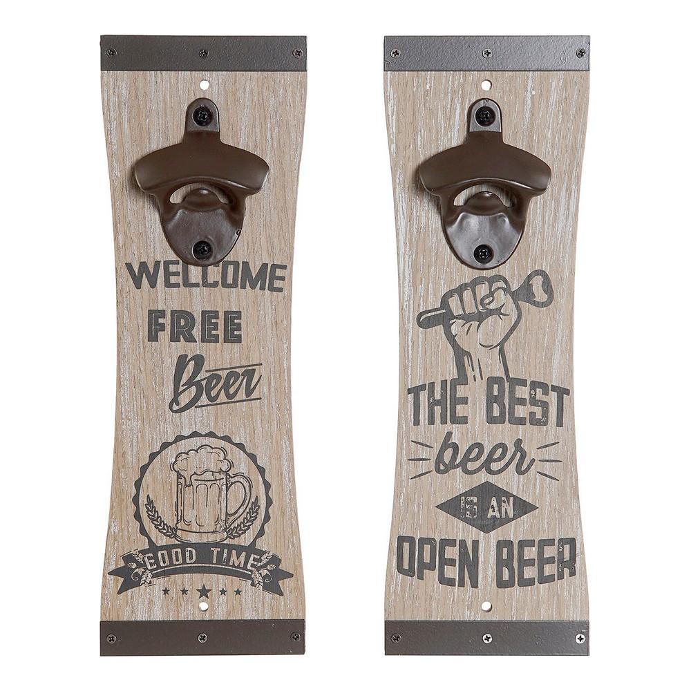 Bottle opener DKD Home Decor Iron MDF Wood (2 pcs) (10 x 4 x 30 cm)