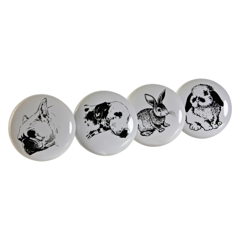 Doorknob DKD Home Decor animals Metal Ceramic (4 pcs)