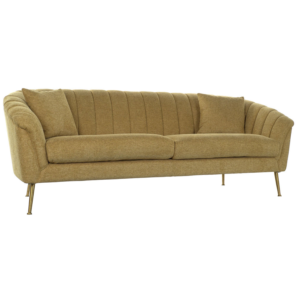3-Seater Sofa DKD Home Decor Yellow Polyester Metal (225 x 100 x 85 cm)