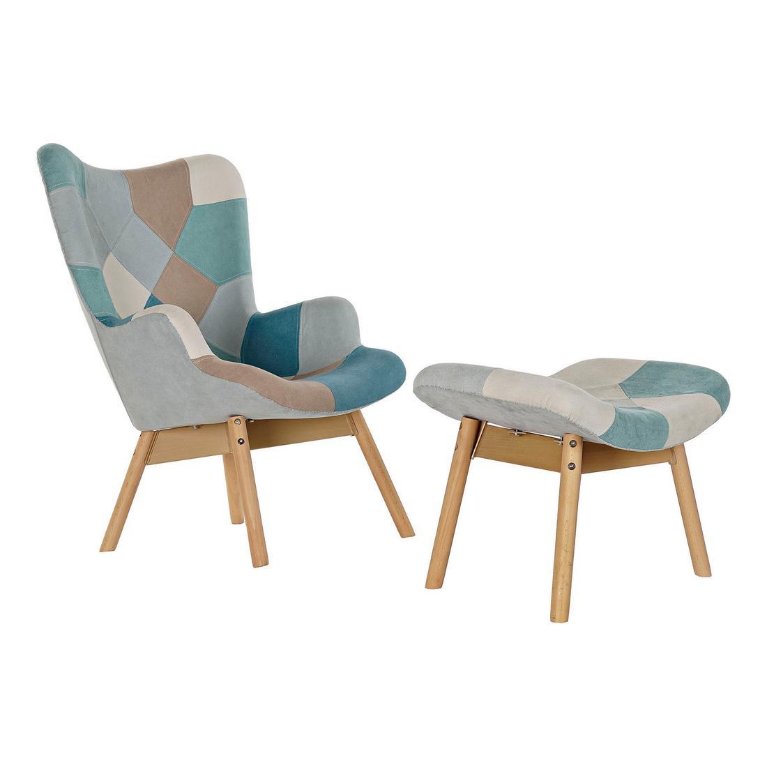 Armchair DKD Home Decor Beige Polyester Pinewood Sky blue (70 x 70 x 95 cm) (2 pcs)