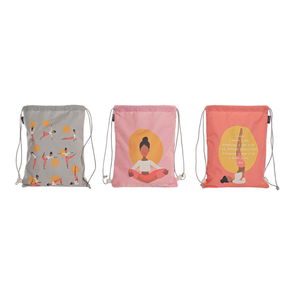 Backpack with Strings DKD Home Decor Yoga Cotton Canvas (3 pcs) (28 x 1 x 36 cm)