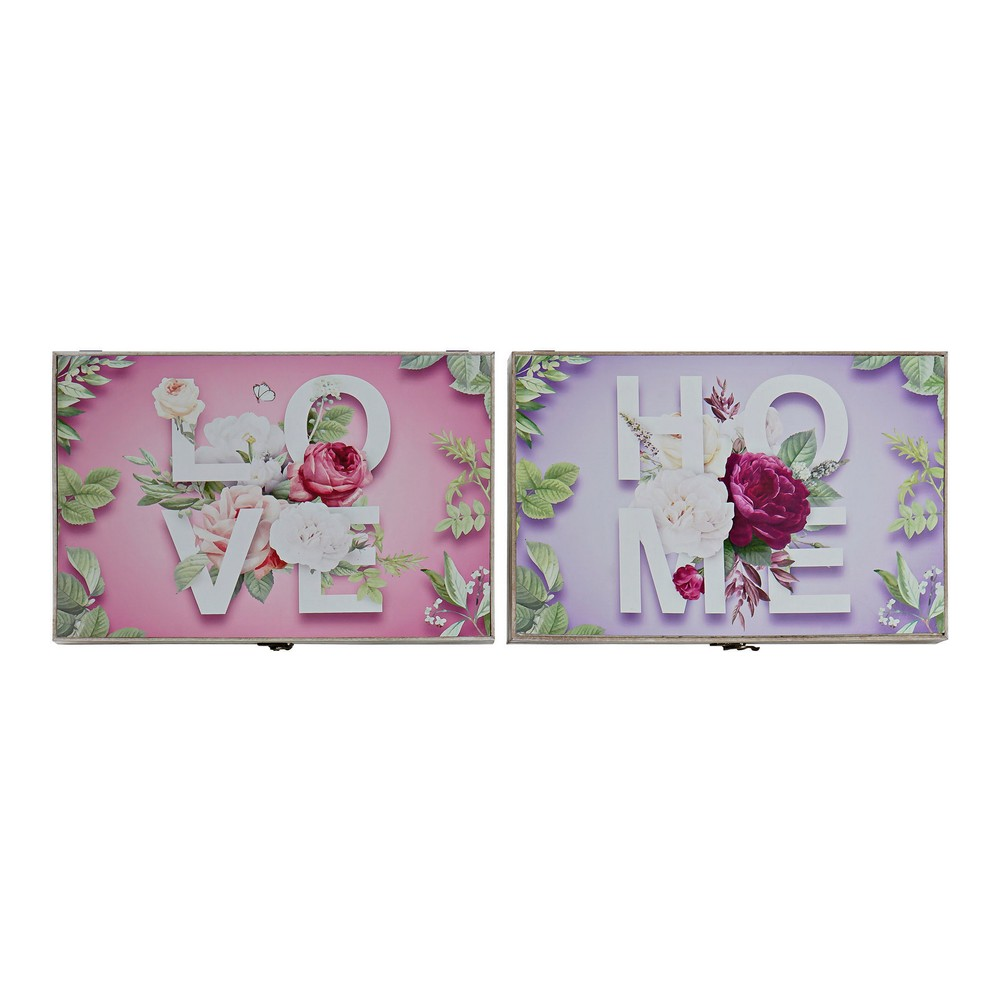 Cover DKD Home Decor Counter Pink MDF Wood Lilac (2 pcs) (46 x 6 x 32 cm)