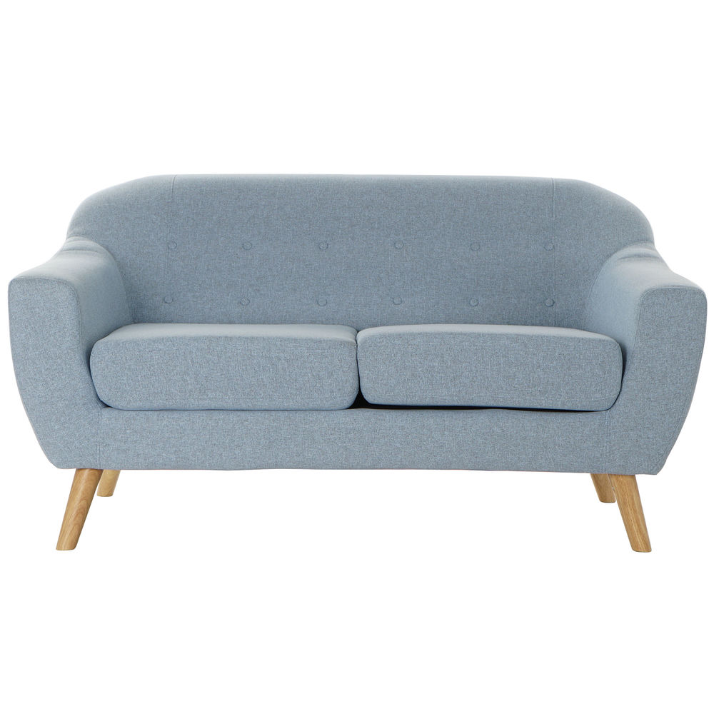 2-Seater Sofa DKD Home Decor Polyester Rubber wood Sky blue (146 x 84 x 82 cm)