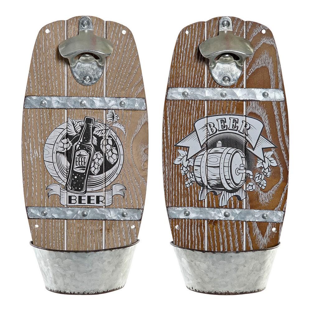 Bottle opener DKD Home Decor Iron MDF Wood (2 pcs) (15 x 7 x 32 cm)