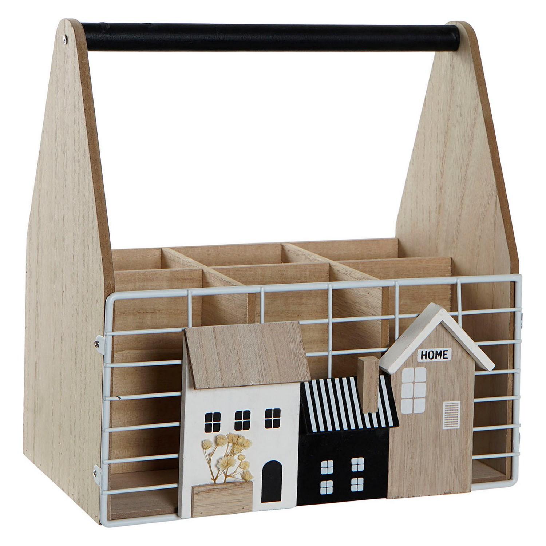 Bottle rack DKD Home Decor White Brown Metal MDF Wood (26 x 17 x 28 cm)