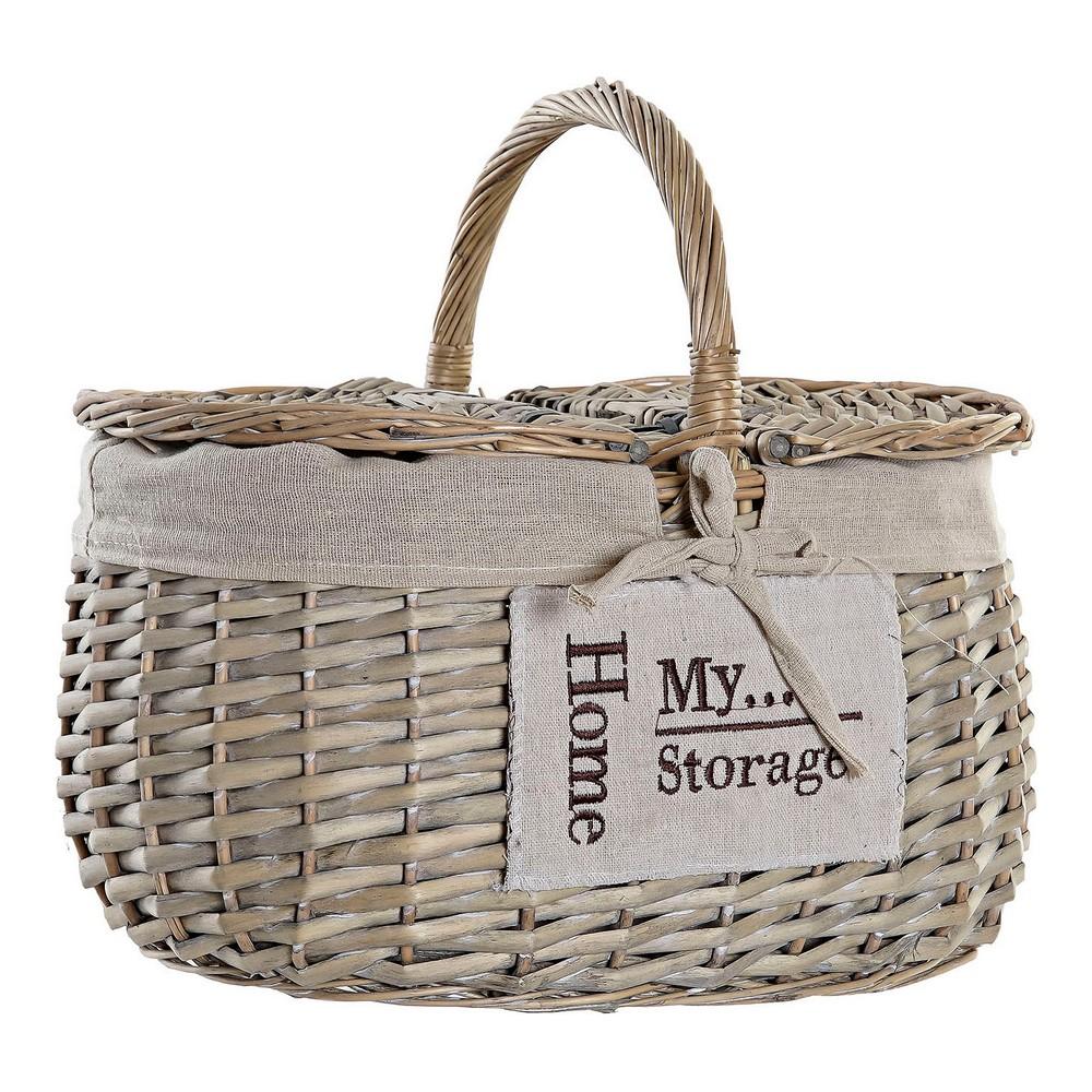 Basket DKD Home Decor Picnic wicker Cloth (35 x 25 x 20 cm)