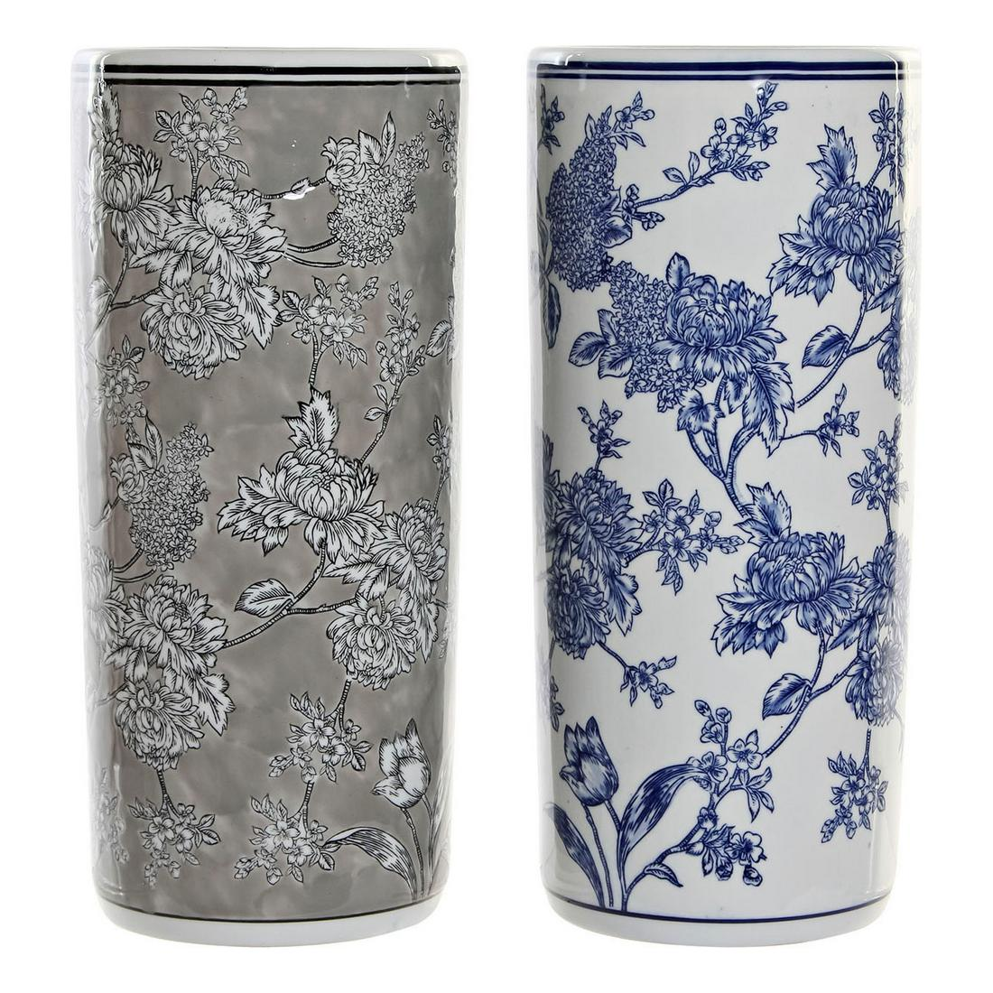 Umbrella stand DKD Home Decor Blue Grey Porcelain (2 pcs) (19.5 x 19.5 x 44 cm)