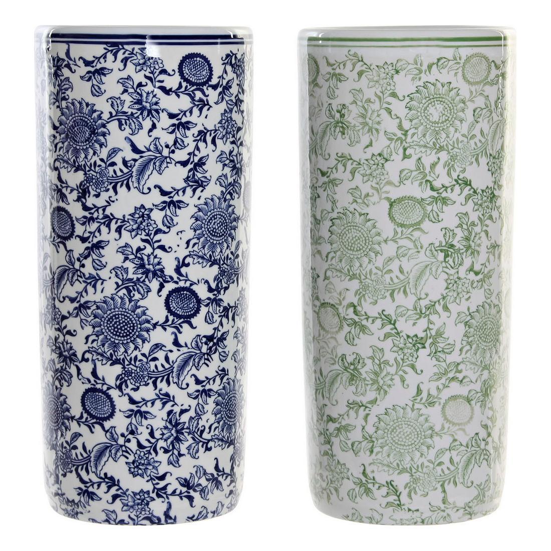 Umbrella stand DKD Home Decor Blue Green Porcelain (2 pcs) (19.5 x 19.5 x 44 cm)