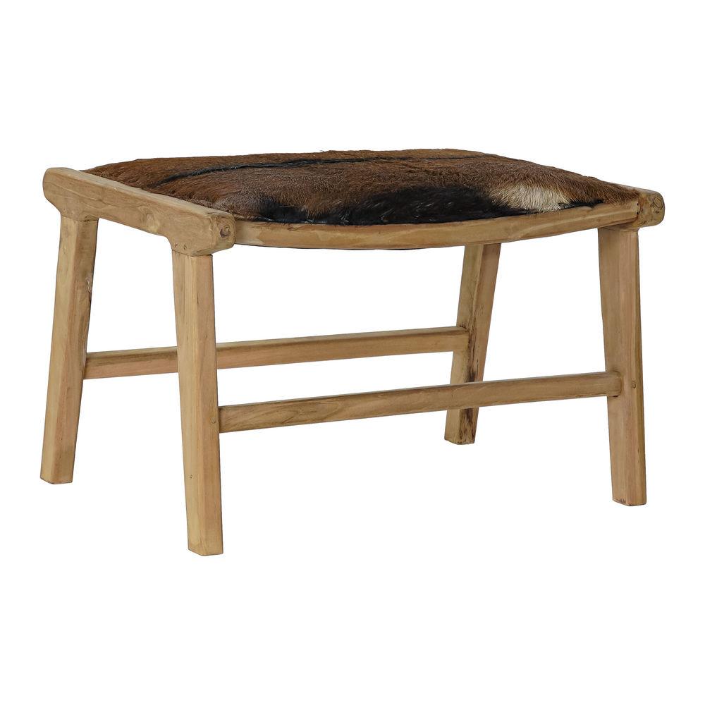 Bench DKD Home Decor Brown Leather Teak (65 x 47 x 42 cm)