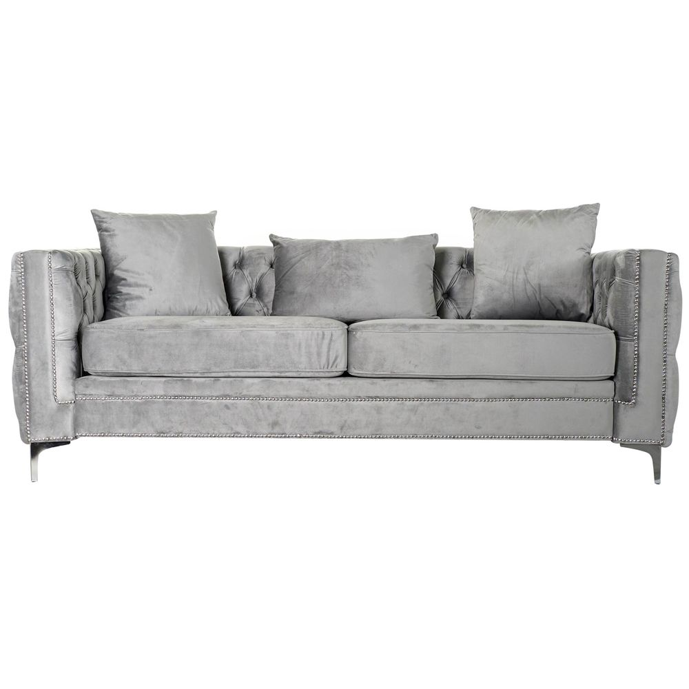 3-Seater Sofa DKD Home Decor Polyester Metal Light Grey (210 x 88 x 76 cm)