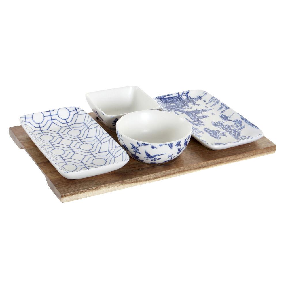 Appetizer Set DKD Home Decor Porcelain Acacia (5 pcs) (30 x 18 x 1.3 cm)