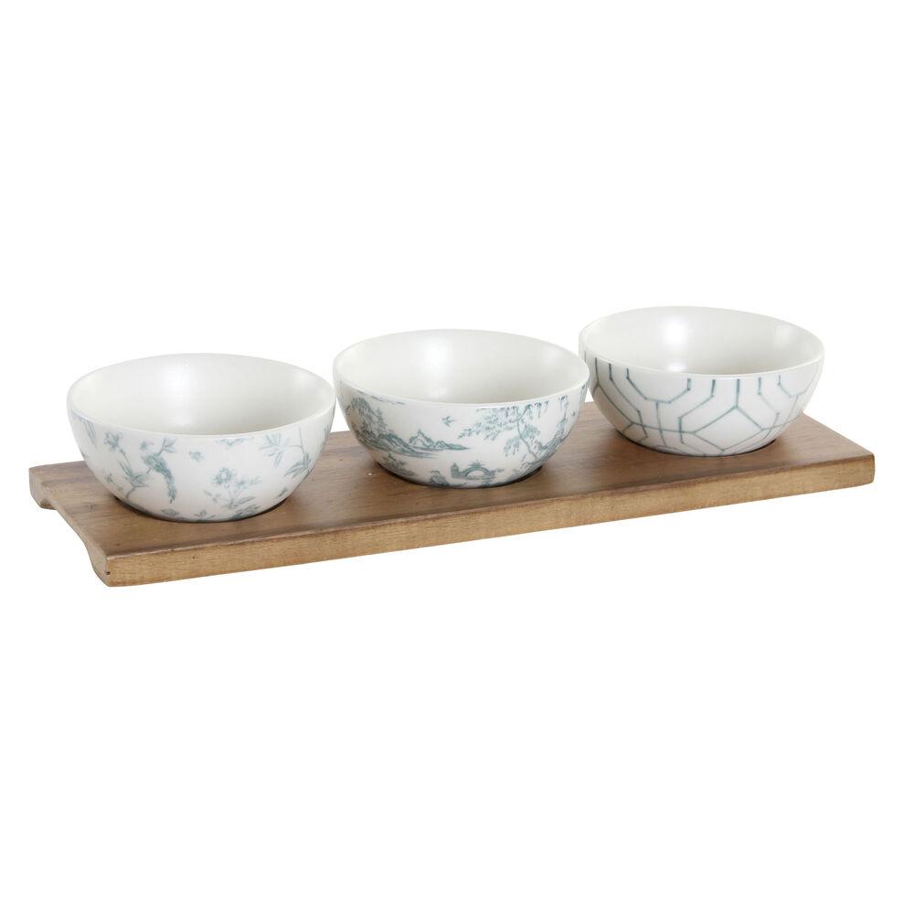 Appetizer Set DKD Home Decor Porcelain Acacia (30 x 9.5 x 1.3 cm) (9,5 x 9,5 x 4 cm)