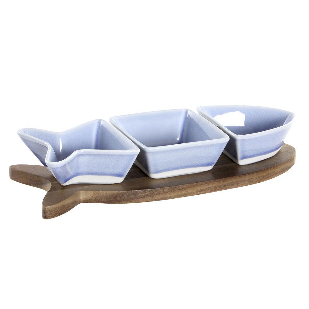 Appetizer Set DKD Home Decor Porcelain Acacia (28 x 9.7 x 1.3 cm)