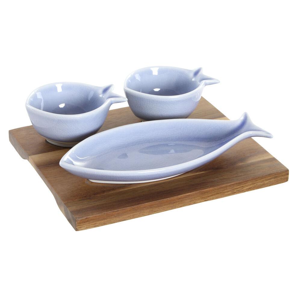 Appetizer Set DKD Home Decor Porcelain Acacia (19.5 x 16.5 x 1.3 cm)