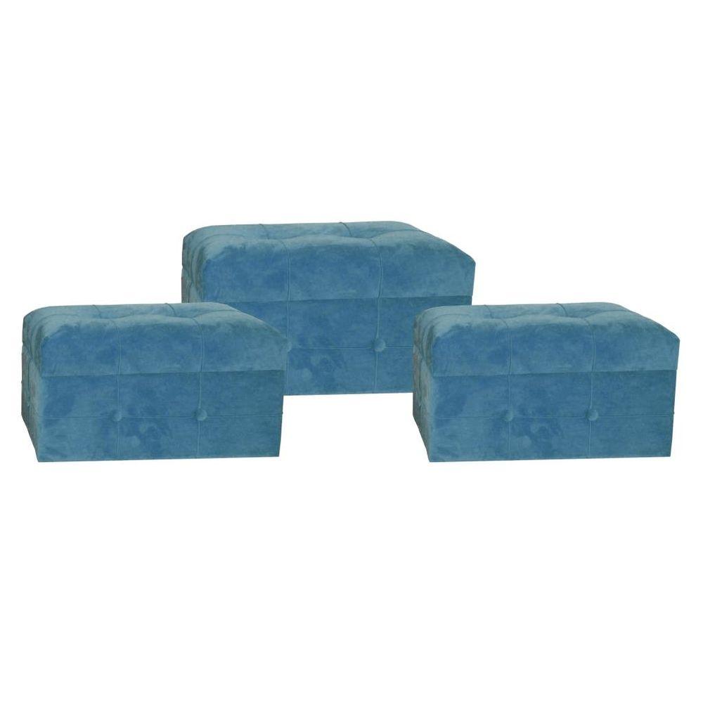 Footrest DKD Home Decor Blue Polyester MDF Wood (3 pcs)
