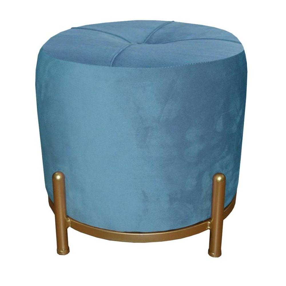 Footrest DKD Home Decor Blue Polyester Metal Golden (38 x 38 x 34 cm)