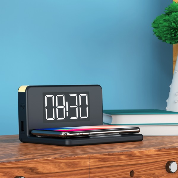 Alarm Clock with Wireless Charger Qi Black