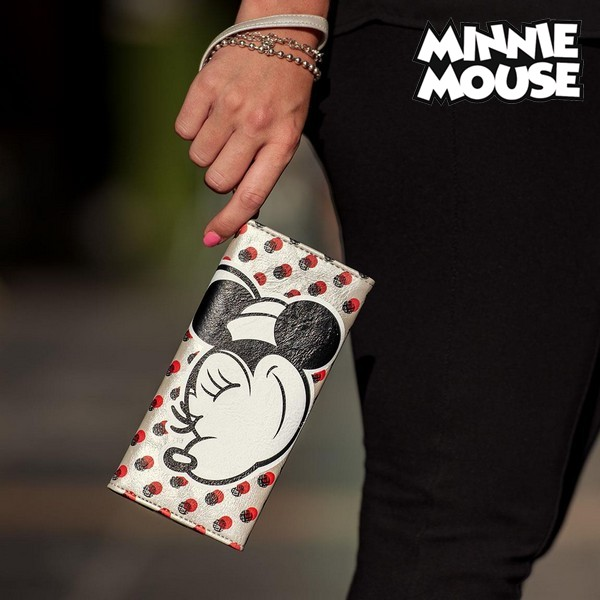 Cartera Minnie Mouse Tarjetero Blanco Metalizado 70687