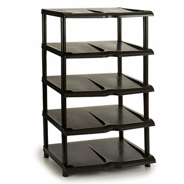 Shoe Rack Black Plastic