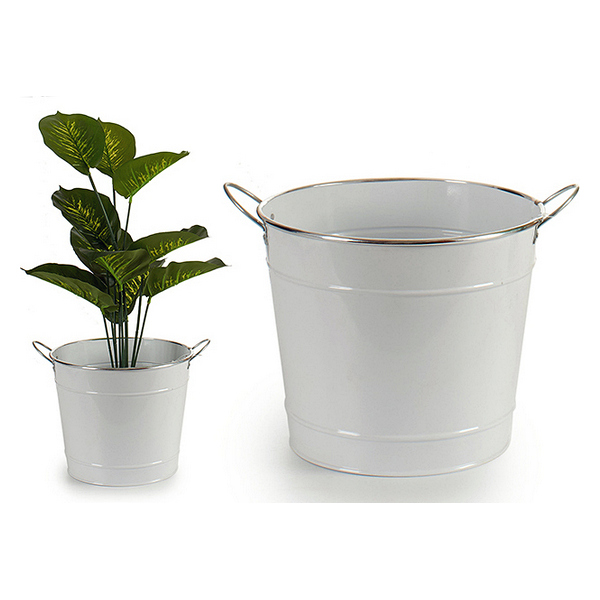 Bucket White Metal (27 x 23 x 34 cm)