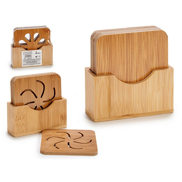 Coasters (9 x 9 x 0,5 cm) (4 Pieces) Bamboo