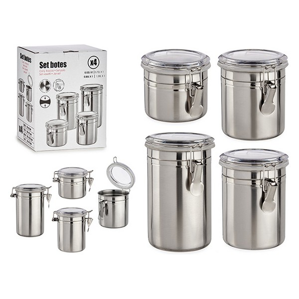 4 Tubs Silver Stainless steel Silver PS