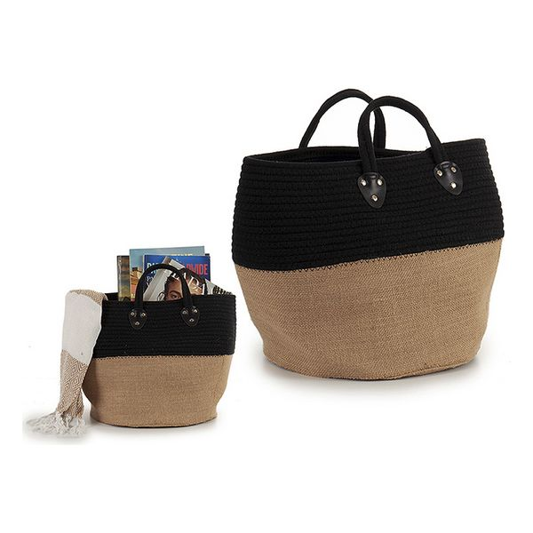 Basket Black Cloth (30 x 40 x 30 cm) (Black)