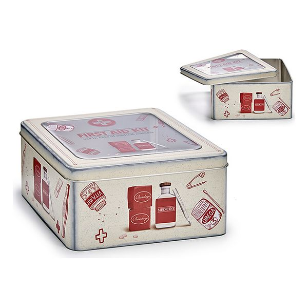 Box with cover Cream Plastic Tin