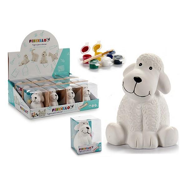 Money box Dog White Ceramic (10 x 13 x 11 cm)