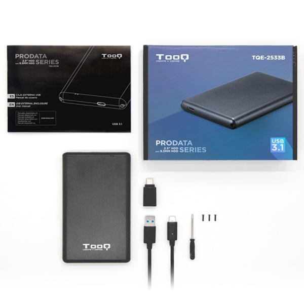 Housing for Hard Disk TooQ TQE-2533B USB 3.1 Black Computers Electronics