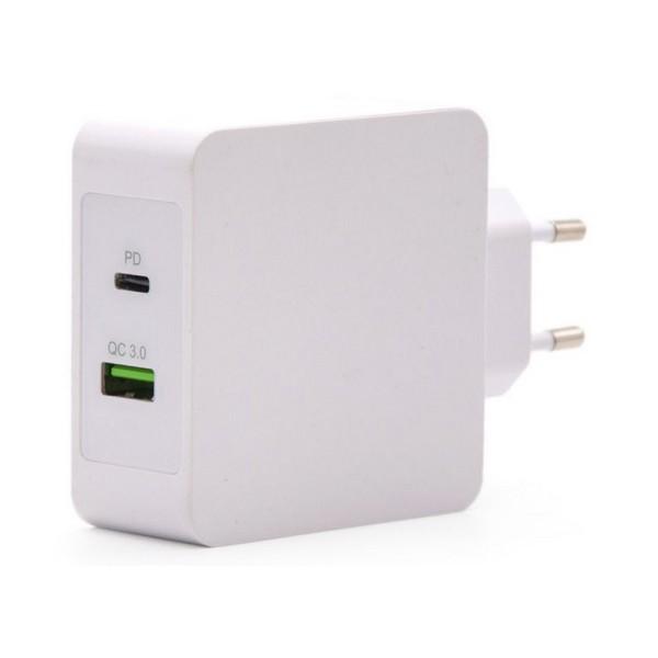 USB  stenski polnilnik TooQ TQWC-2SC03WT