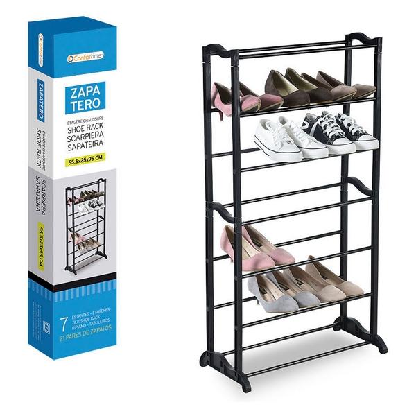 Shoe Rack Confortime Black (21 Pairs) (55,5 x 25 x 95 cm)