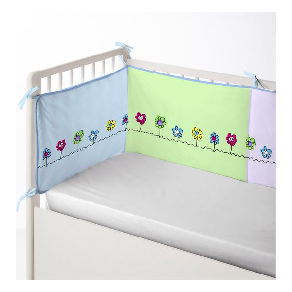 Cot protector Cool Kids Patch Garden (60 x 60 x 60 + 40 cm)