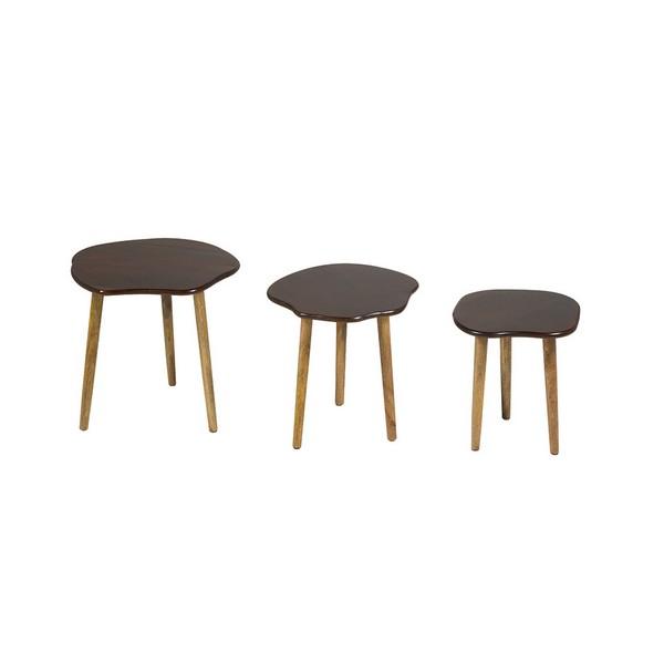 Set of 3 small tables Mango wood