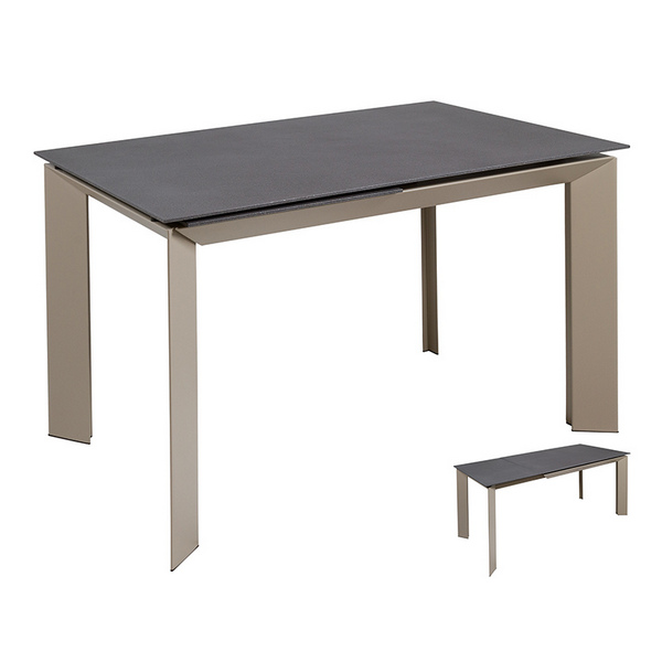 Dining Table Crystal Metal Grey (120 X 80 x 76 cm)