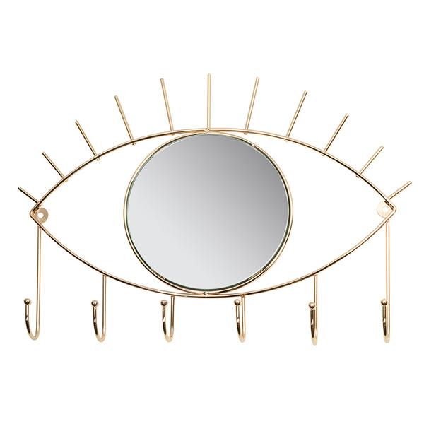 Coat rack Eye Golden Brass (42 x 30 x 4 cm)