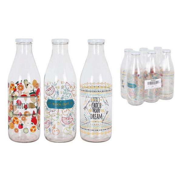 Bottle Milk Glass Threaded cover 1L