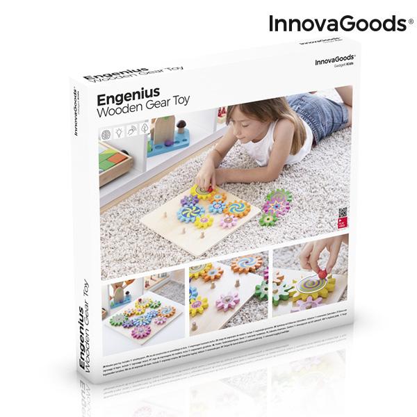 Juego de Engranajes de Madera Engenius InnovaGoods 12 Piezas (1)